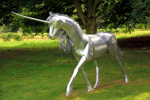 Unicorn in the Garden. park, trees, england, sculpture, horse, green, art, statue, silver, court, garden, unicorn, warwickshire, coughton, johndalkin, heavensgatejohn. buy photo