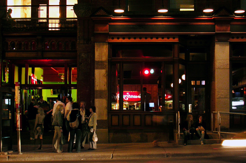 Thursday night at the Gladstone. windows, toronto, west, bar, night, lights, hotel, crowd, sidewalk, gladstone, queenstreet. buy photo