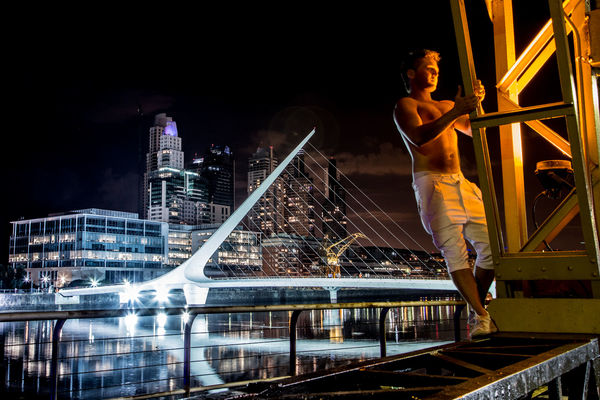 shooting a friend in puerto madero. argentina, night, noche, mujer, buenosaires, ponte, notturna, arpa, notte, puertomadero, porteño, puentedelamujer. buy photo
