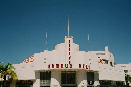 South Beach Jerrys Famous Deli. sobe, florida, south, beach, miami, c41, fuji, 200, film, analog, 35mm, art, deco, hoffmans, cafeteria, building, architecture, henry, hohauser, 1940. buy photo