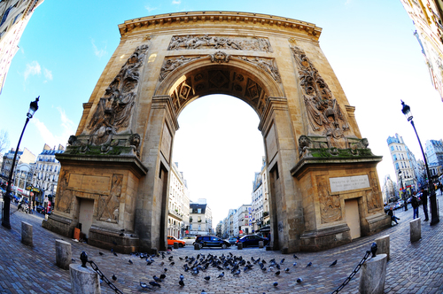 a large building with a clock on the front of it. street, city, urban, paris, france, colors, french, perspective, fisheye, streetphoto, rue, français, streetpict, flickraward, d300s, jesuisparis. buy photo