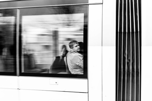 Méditatif .... street, people, urban, blackandwhite, bw, france, monochrome, noiretblanc, candid, tram, strasbourg, alsace, panning, tramway, mouvement, filé. buy photo