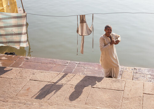 Wash Day. india, man, varanasi, washing, ganges, washday. buy photo