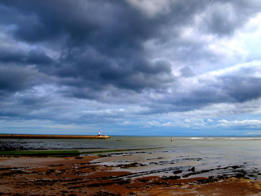 Sky at Berwick-Upon-Tweed. uk, england, sky, wet, water, weather, clouds, river, landscape, town, tour, gloomy, place, riverside, cloudy, north, scenic, stormy, visit, scene, location, tourist, area, serene, northeast, berwick, berwickupontweed, frim, rivertweed, ©2014tonyworrall. buy photo