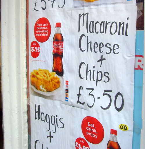 Scottish foodstuffs - Macaroni & Chips. food, window, sign, shop, scotland, yummy, country, north, things, eat, stuff, ate, region, grub, regional, scots, unhealthy, macandcheese, scottishfood, thingstoeat, foodofscotland, ©2013tonyworrall. buy photo