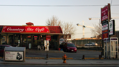 Country Site Cafe April 18. shop, garbage, phonebooth, sidewalk, firehydrant, donut, countrysitecafe. buy photo