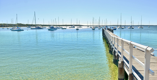 Callala Bay. blue, landscape, boats, fishing, turquoise, jetty, anchorage, nsw, jervisbay, waterscape, leadinglines, callalabay, ilobsterit. buy photo