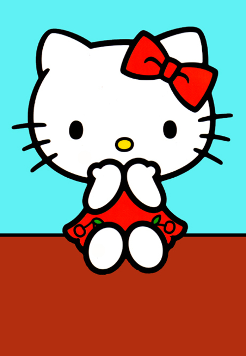 Hello Kitty in a red cherry dress sitting on a wall. hello, red, cherry, dress, drawing, kitty. buy photo