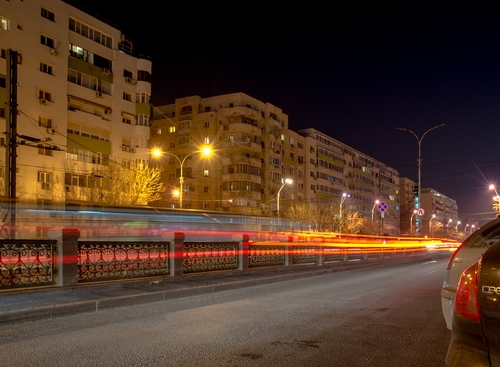 Long exposure fast lights. street, city, longexposure, cars, night, outdoor, bucharest, amateurphotography. buy photo