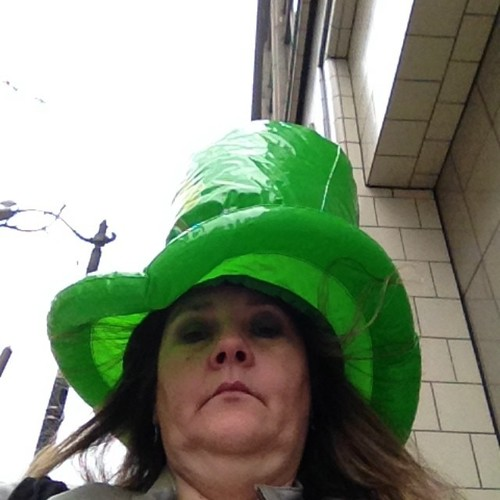 On way to parade it b raining so me sent Hooman to record dis parade while me stay dry #seattlestpatty. square, squareformat, iphoneography. buy photo