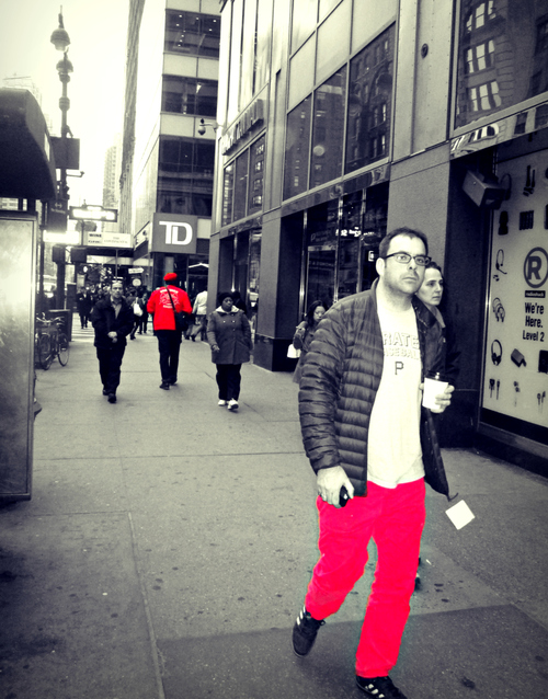 Midtown Red. street, nyc, red, people, bw, walking, manhattan, clothes, midtown, canonpowershot, selectivecolor. buy photo