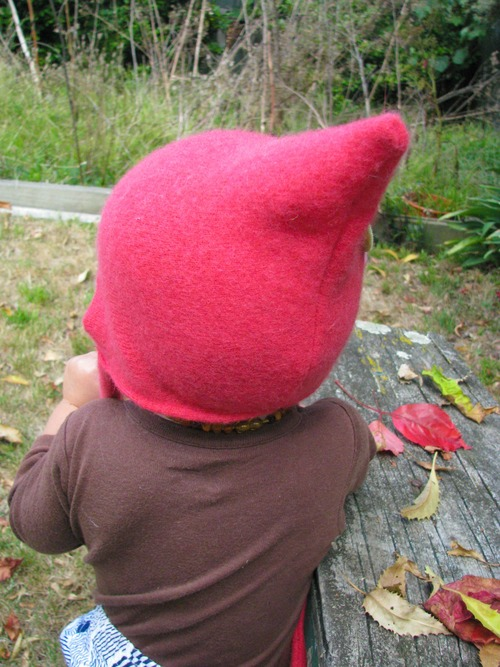 Soft wool pixie hat with pink rose. wool, recycled, hats, felt, heartfelt, pixiehat. buy photo