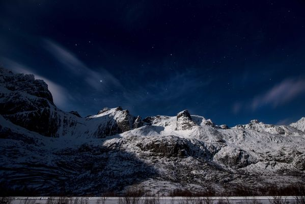 Moonlight over Lofoten mountains. snow, mountains, night, lofoten. buy photo
