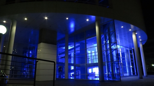 Munich after sunset: entrance to an office building.. blue, architecture, munich, bavaria. buy photo