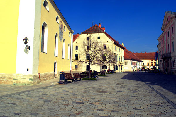 a large building with a clock on the side of it. street, city, croatia, varaždin, ilobsterit. buy photo