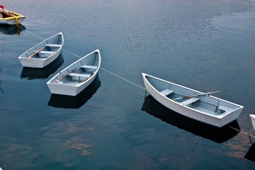 Three dinghies at Star Island, Isles of Shoals, New Hampshire. boat, boating, rowboat, dinghy, rowboats, dinghies. buy photo