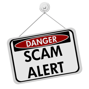 Wp scam alert red black white sign