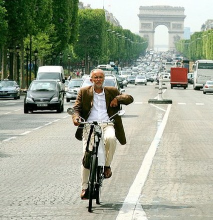 Bicycling in Paris on the Champs-Elysees