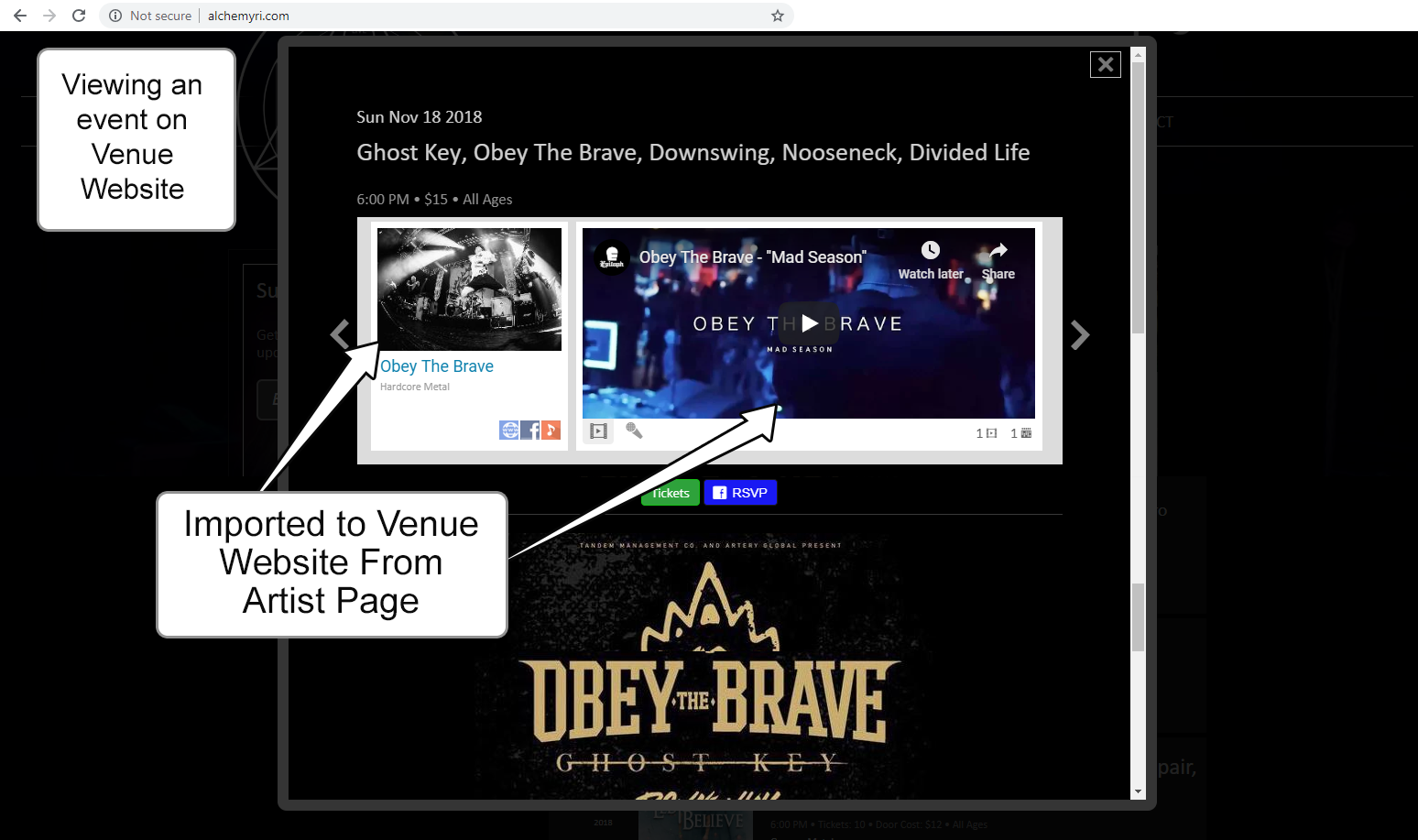 Your Artist Picture, Videos, Music, Links, Bio, Genre and Location appear on Venue Websites