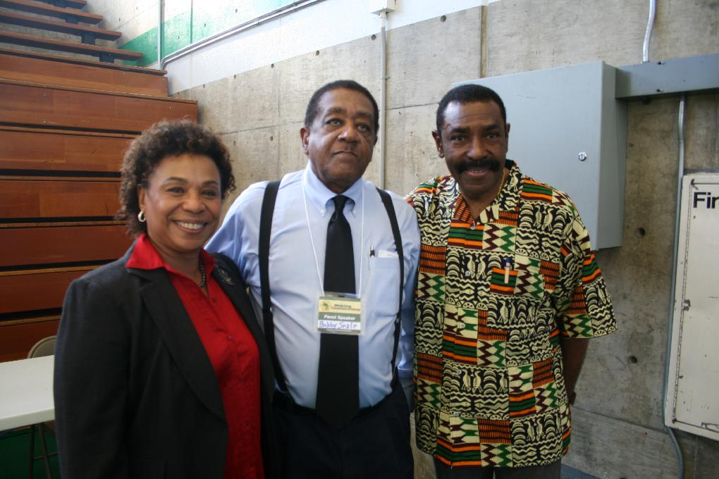 Congresswoman Barbara Lee, Black Panther Party co-founder Bobby Seales and Supervisor Carson at the Making Connections conference in February 2013 at Laney College in Oakland.