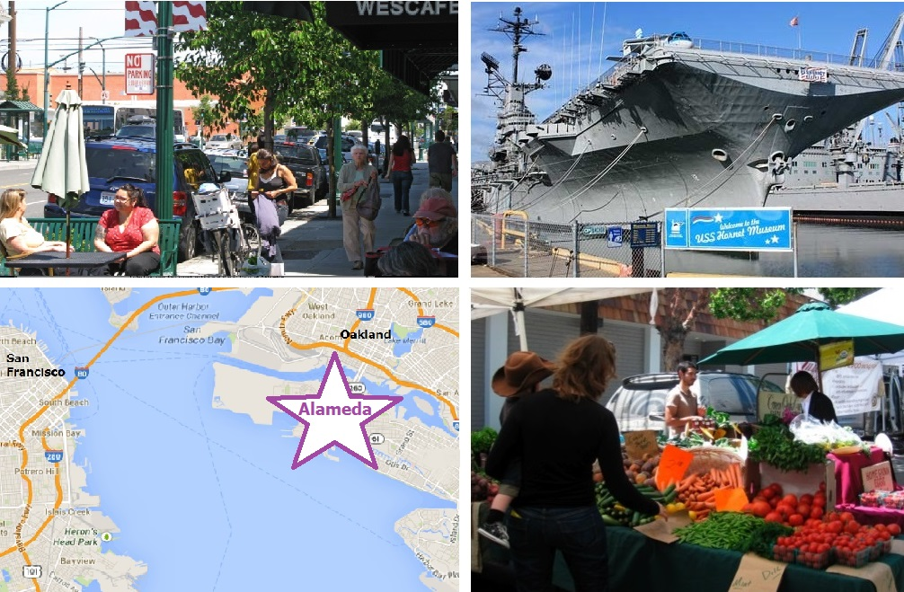 Hometown character and charming historic buildings, home of the USS Hornet and the Alameda Naval Air Museum, on the East side of the San Francisco Bay