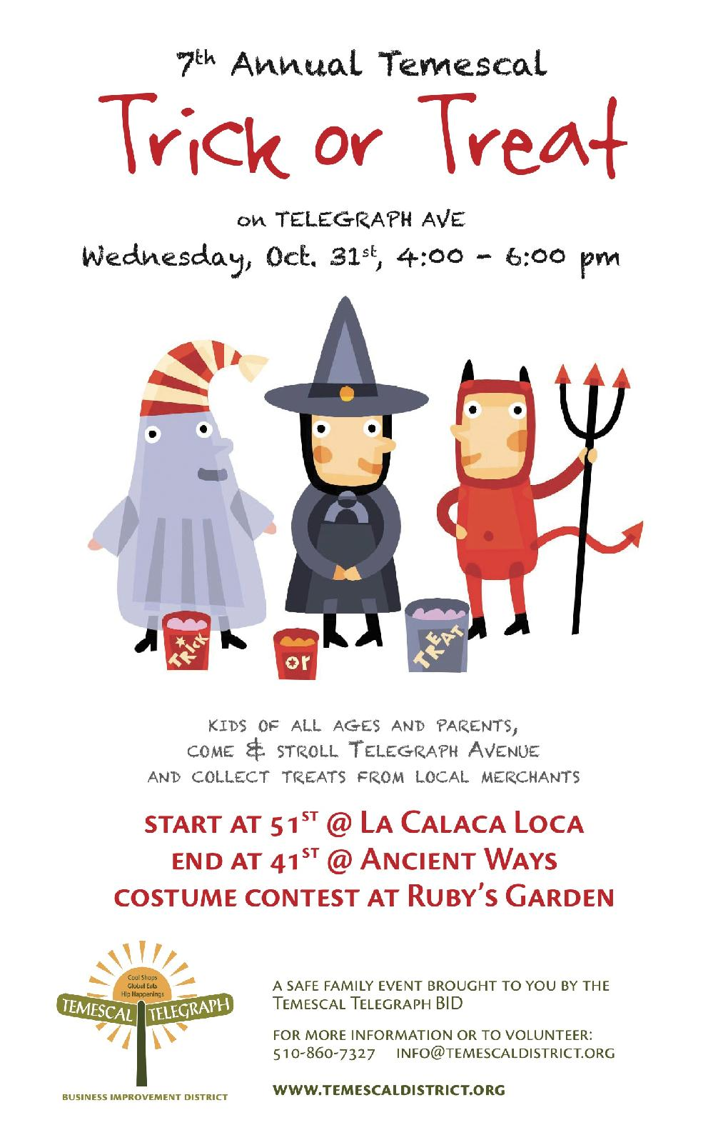 The 7th Annual Temescal Trick or Treat is October 31st!