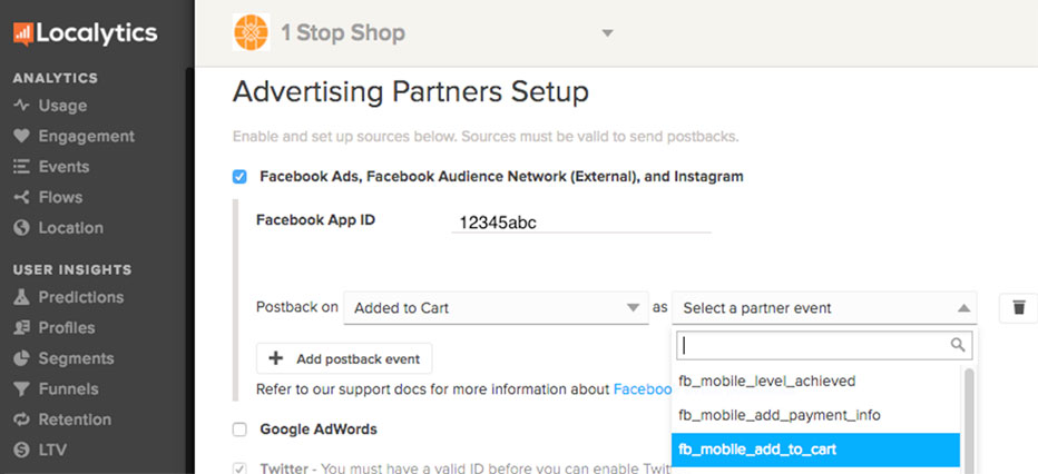 Localytics Event Postbacks for attributing & sharing conversions with ad partners