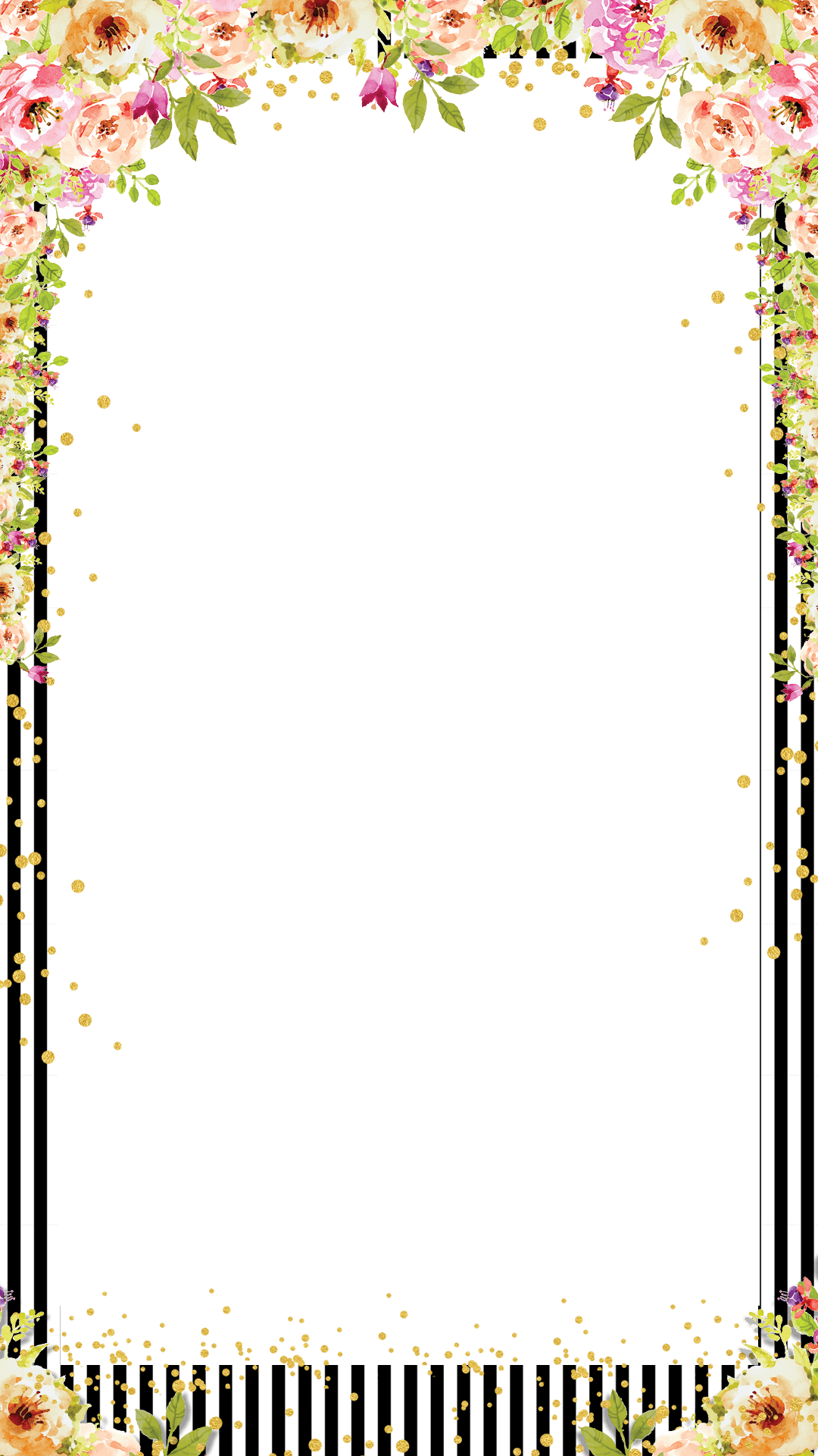 Watercolor Floral Striped Bridal Shower Snapchat Filter