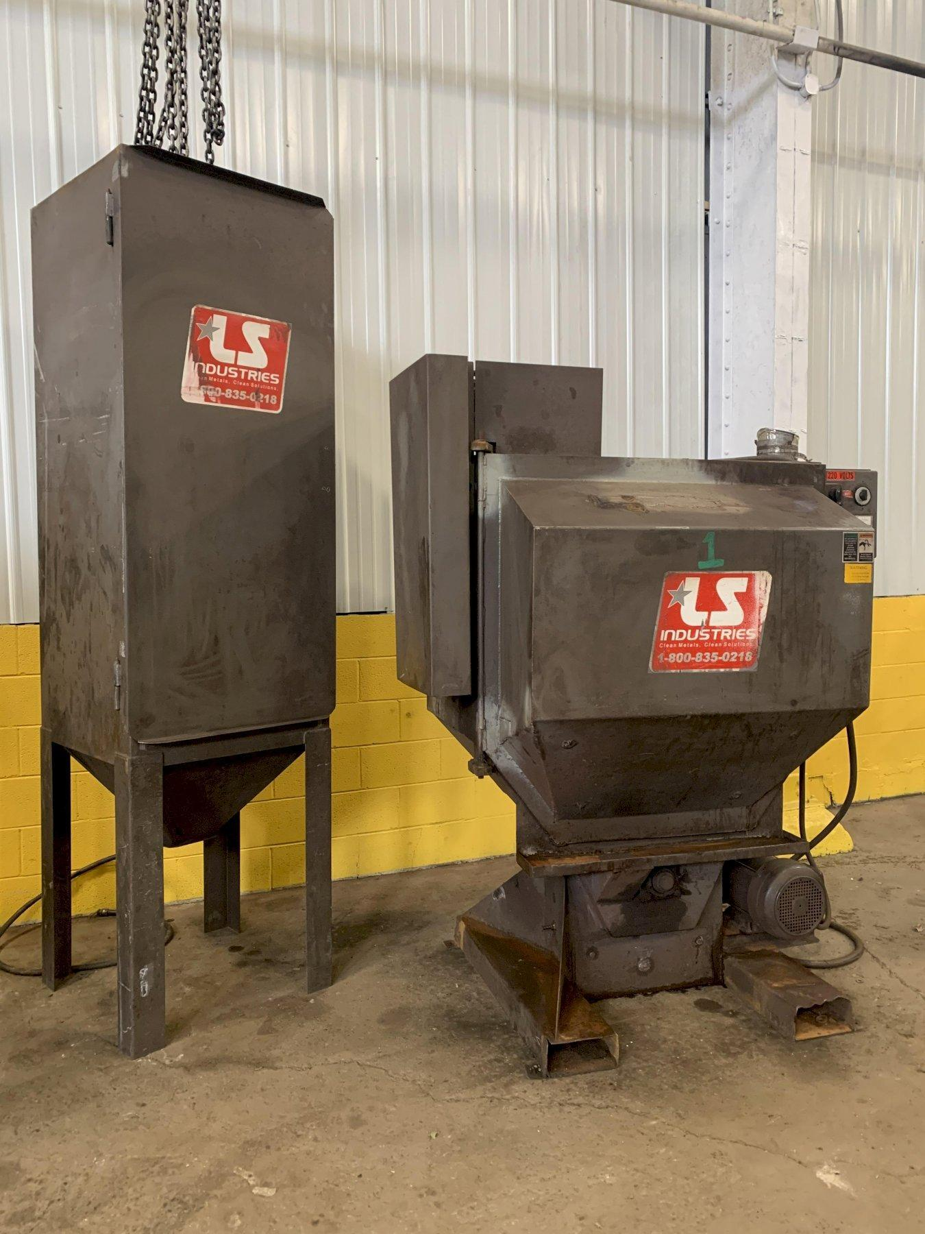 "34"" X 28""  LS INDUSTRIES ROTARY BASKET SHOT BLAST MACHINE WITH DUST COLLECTOR: STOCK #12652"