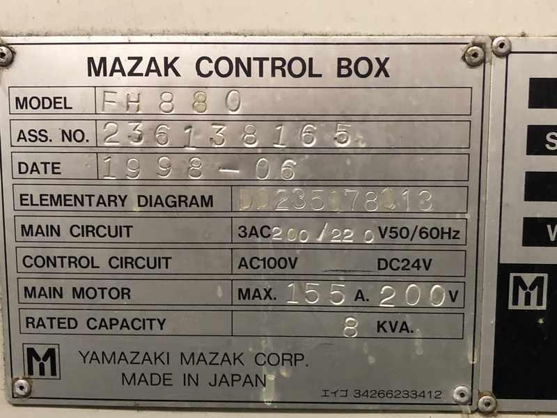 MAZAK MODEL #FH880 HORIZONTAL MACHINING CENTER: STOCK # 71725