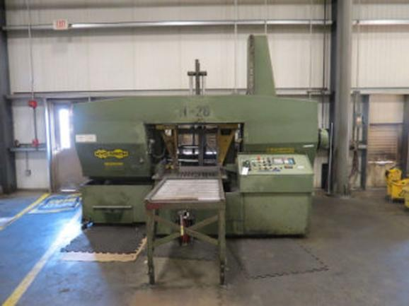 "26"" X 26"" Hyd-Mech Model H-26A Horizontal Auto Band Saw, With 40' of Powered Conveyor"