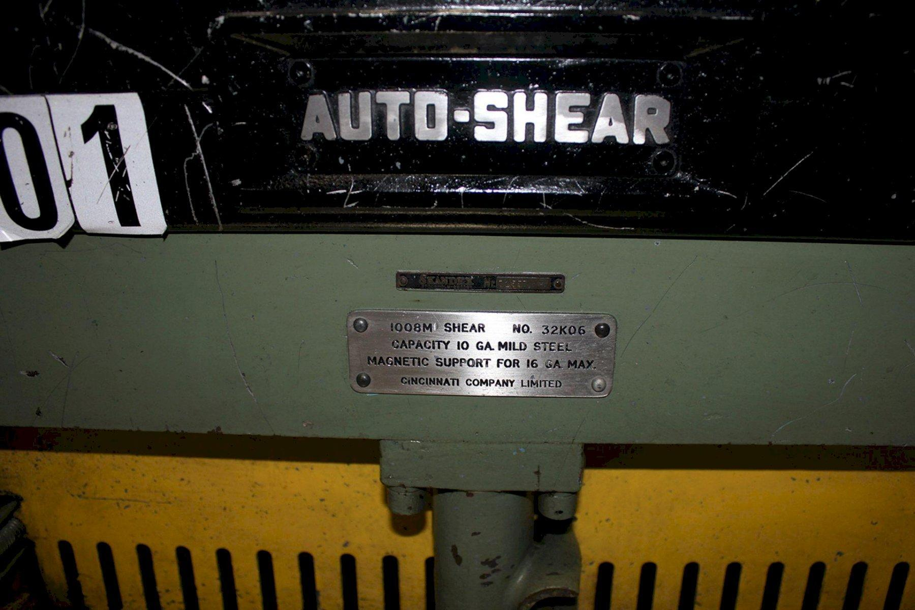 Cincinnati Power Shear 10 Ga. x 8' #5907