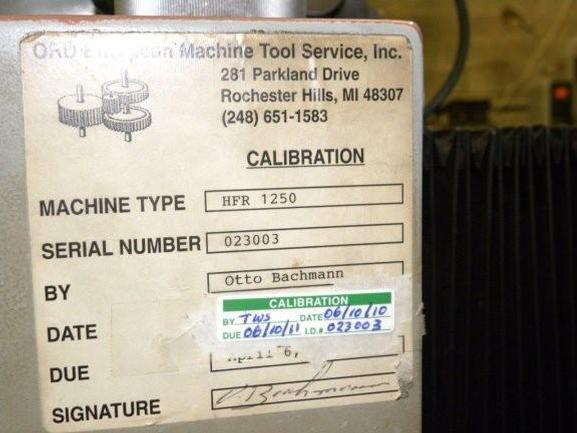 """No. HFR-1250 Hoefler Gear Checker, 50"""" Max Gear Diameter, 10"""" Max Face, #21412"""