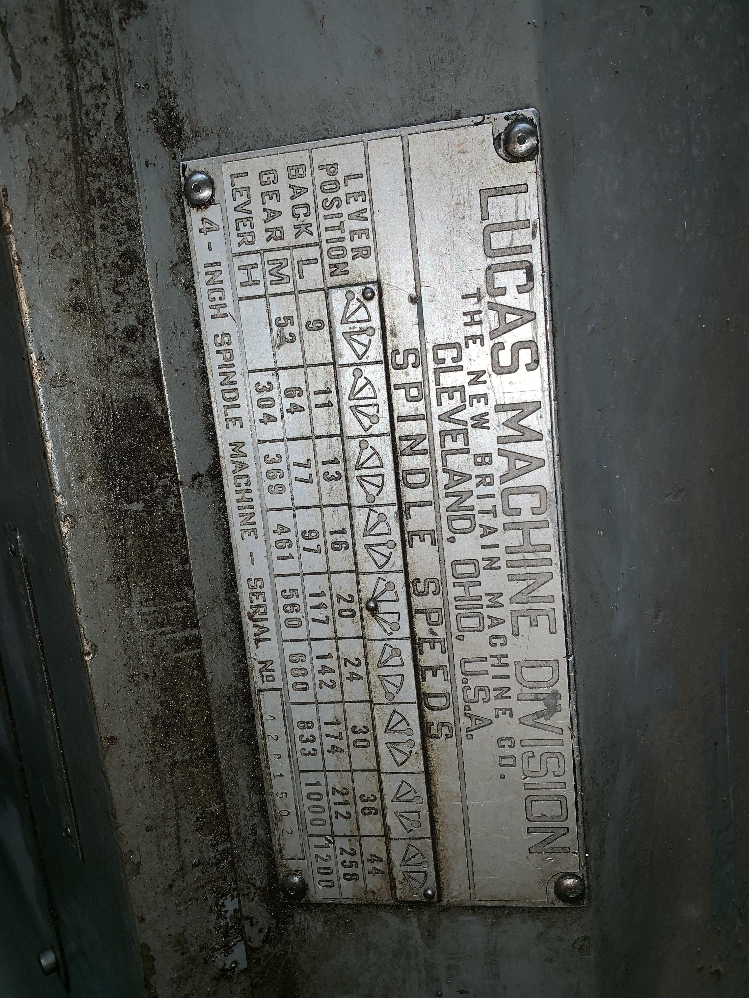 "4"" LUCAS MODEL 42B-60 HORIZONTAL TABLE TYPE BORING MILL: STOCK #10816"