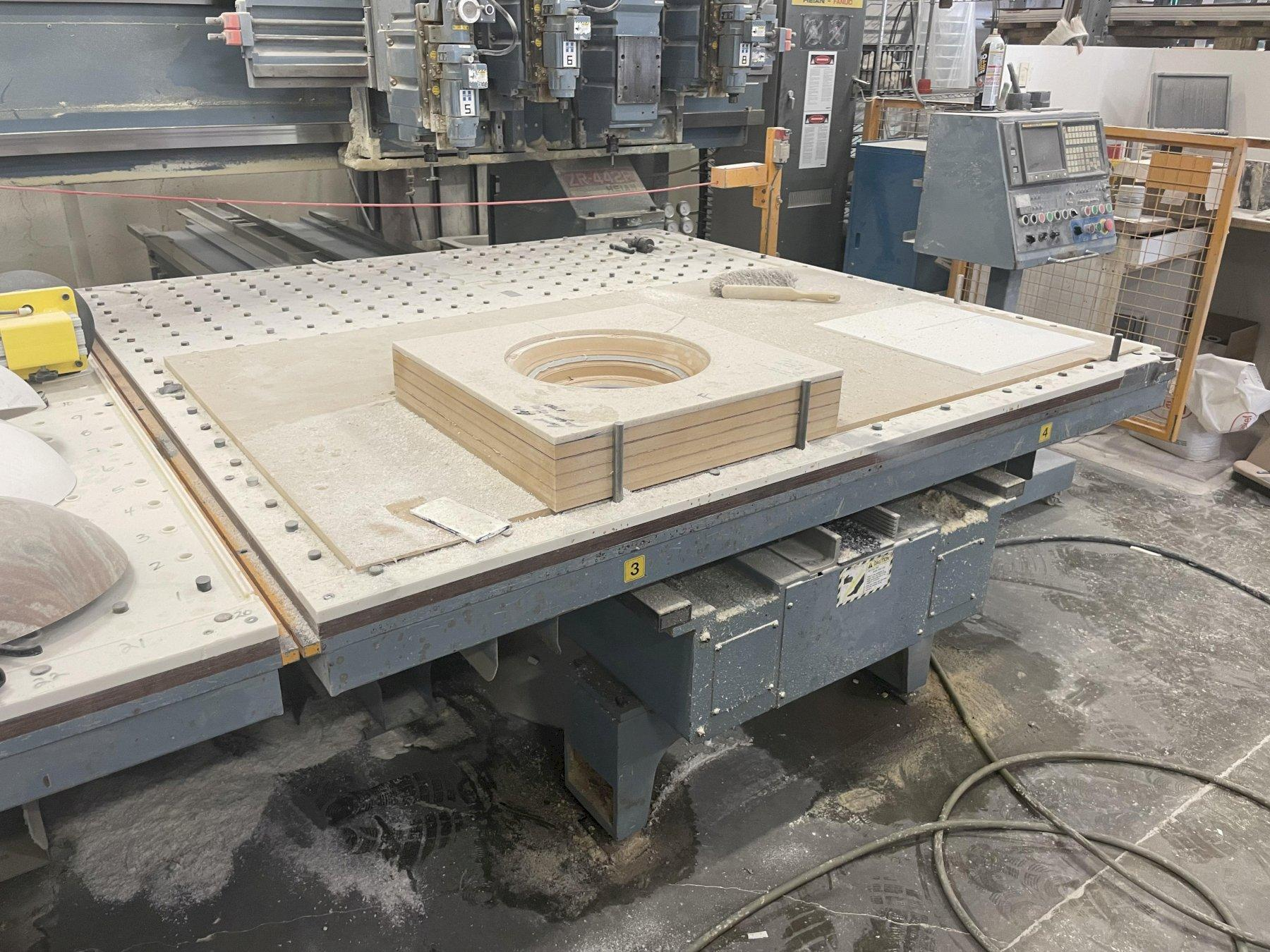 4 SPINDLE HEIAN MODEL #ZR-442P CNC TWIN MOVING MATRIX TABLE ROUTER: STOCK #13639