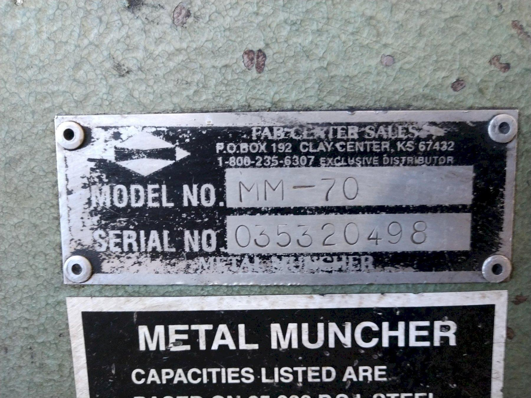 70 TON METAL MUNCHER MODEL #MM-70 HYDRAULIC IRONWORKER: STOCK #13432