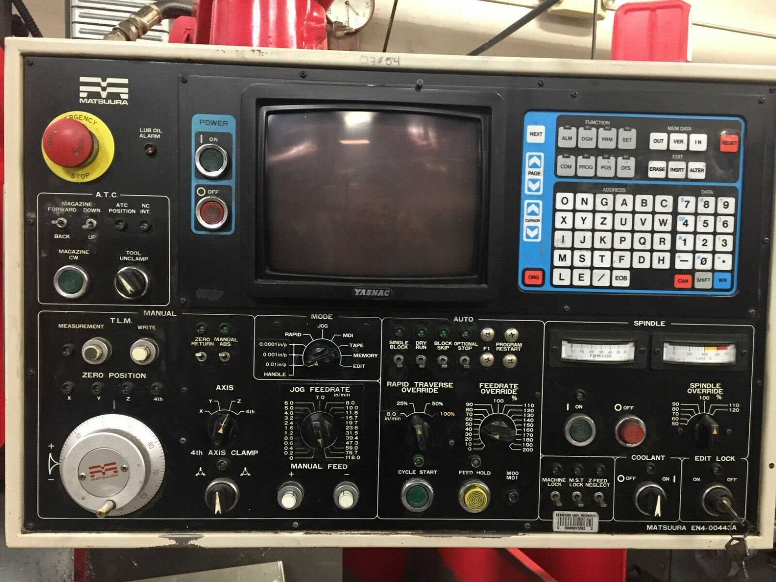 1984 MATSUURA MC-500VS VMC YASNAC MX-2 6000RPM 20ATC