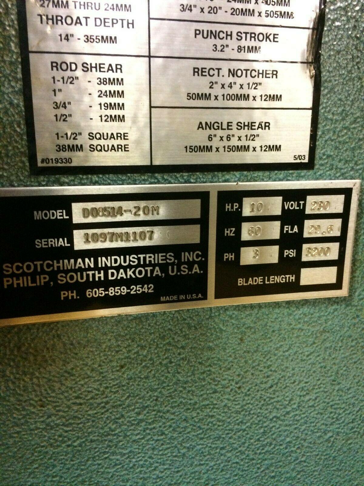"Scotchman DO8514-20M Dual Operated 85 Ton Iron Worker 14"" Throat"