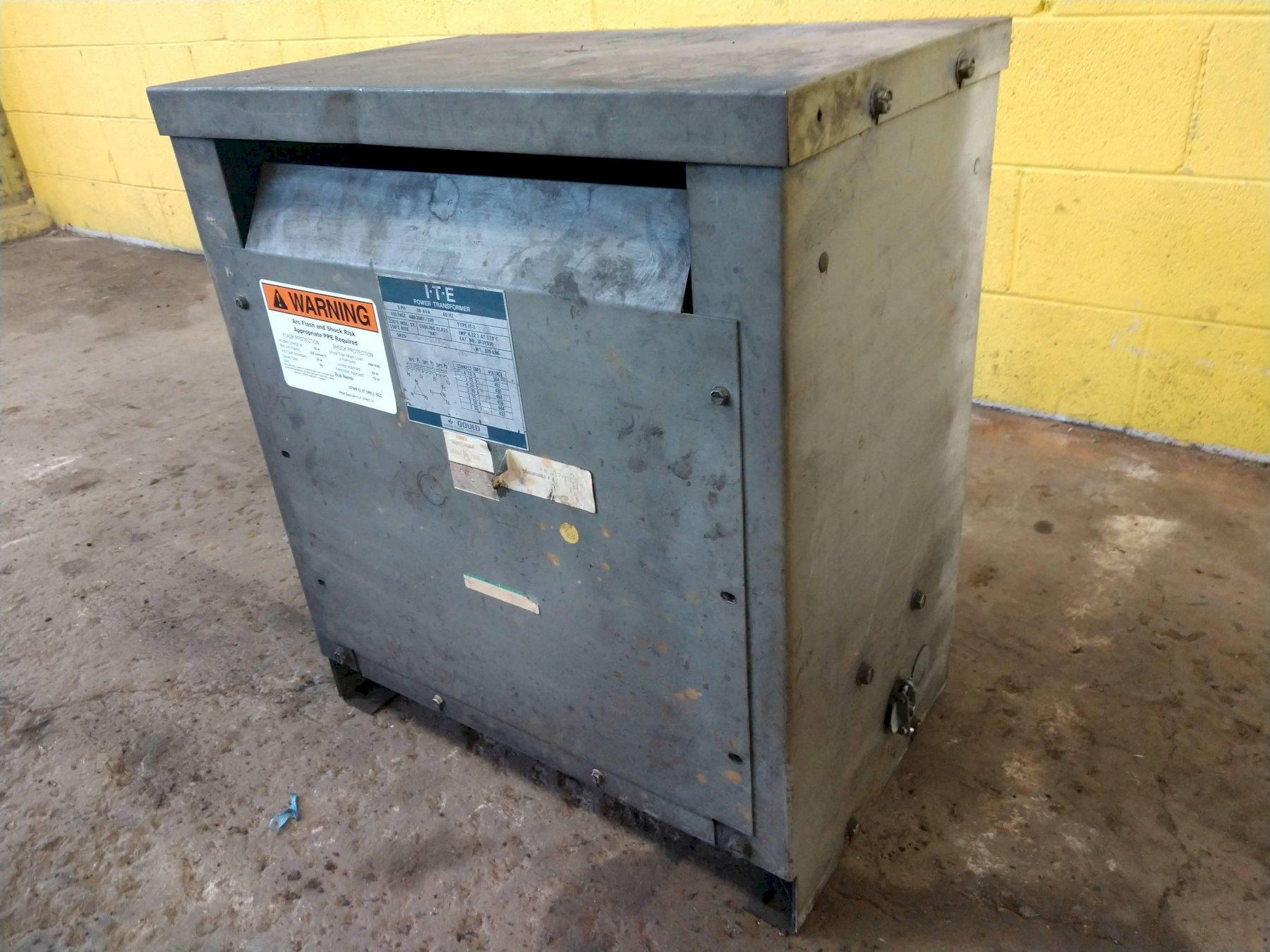 30 KVA GOULD 480-208Y/120 3 PHASE POWER TRANSFORMER: STOCK #13431