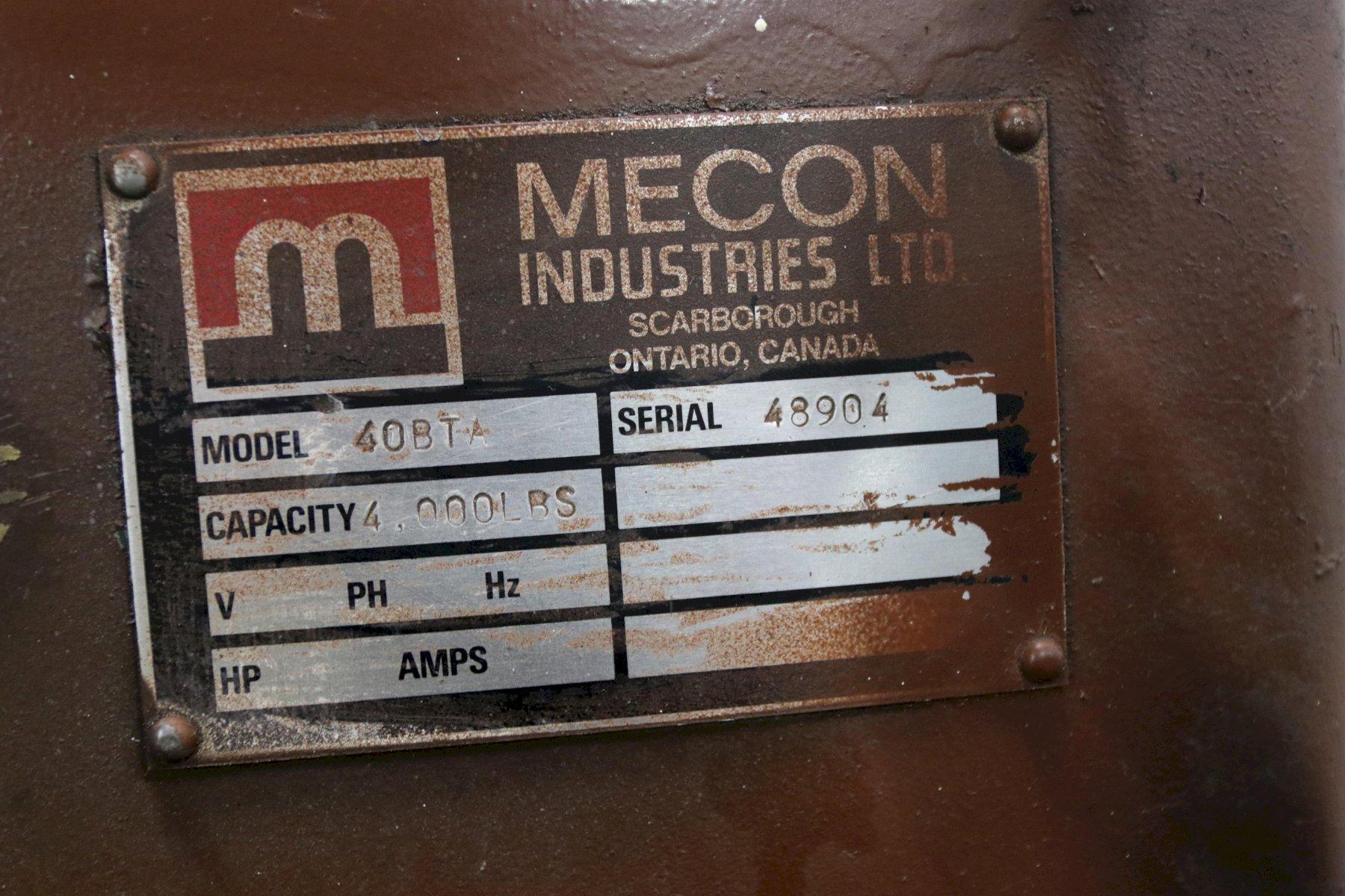 """4000 LB X 24"""" MECON NON-POWERED COIL REEL UNCOILER: STOCK 12053"""