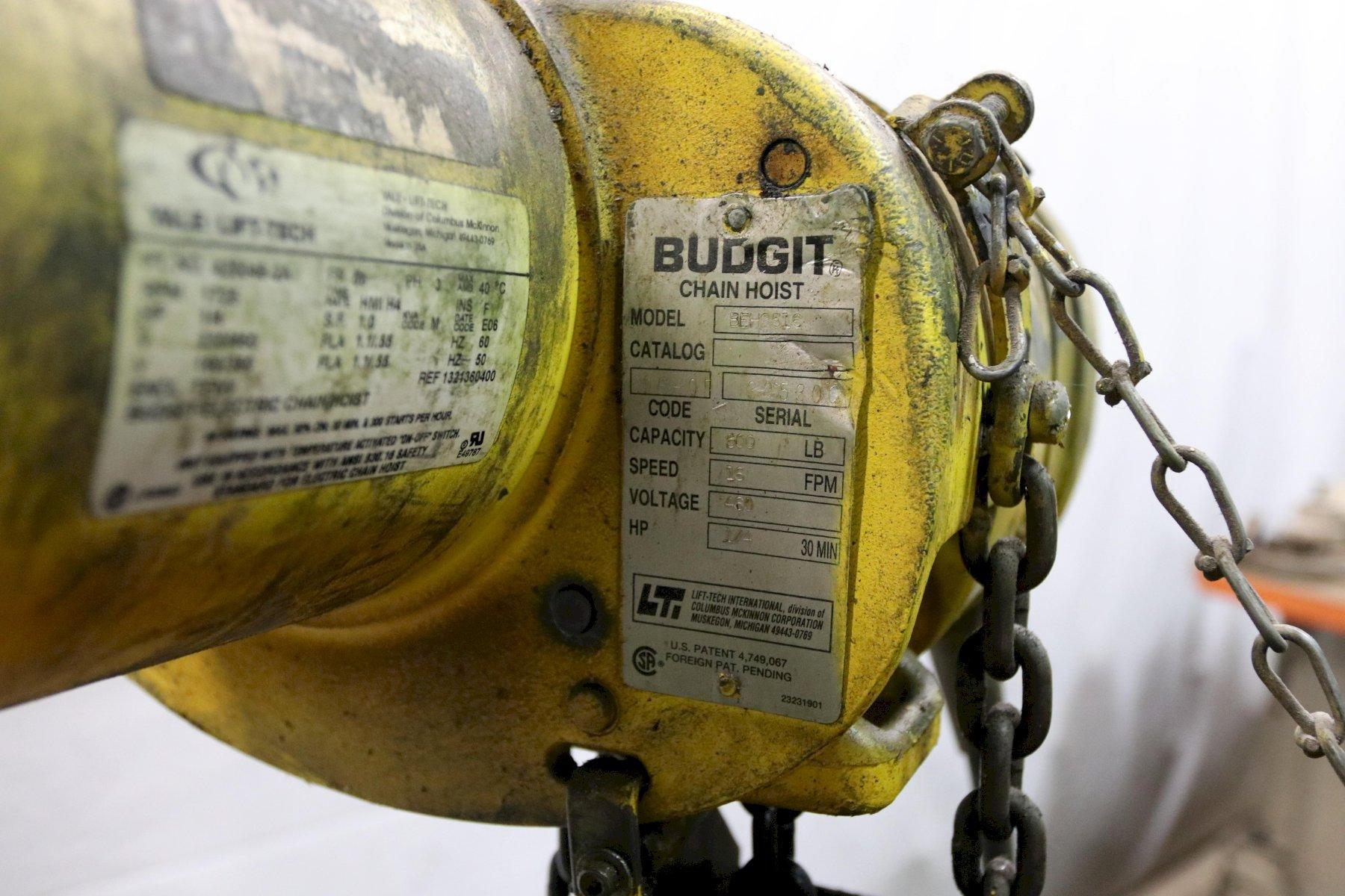 500 LB BUDGIT ELECTRIC POWERED CHAIN HOIST: STOCK #11977