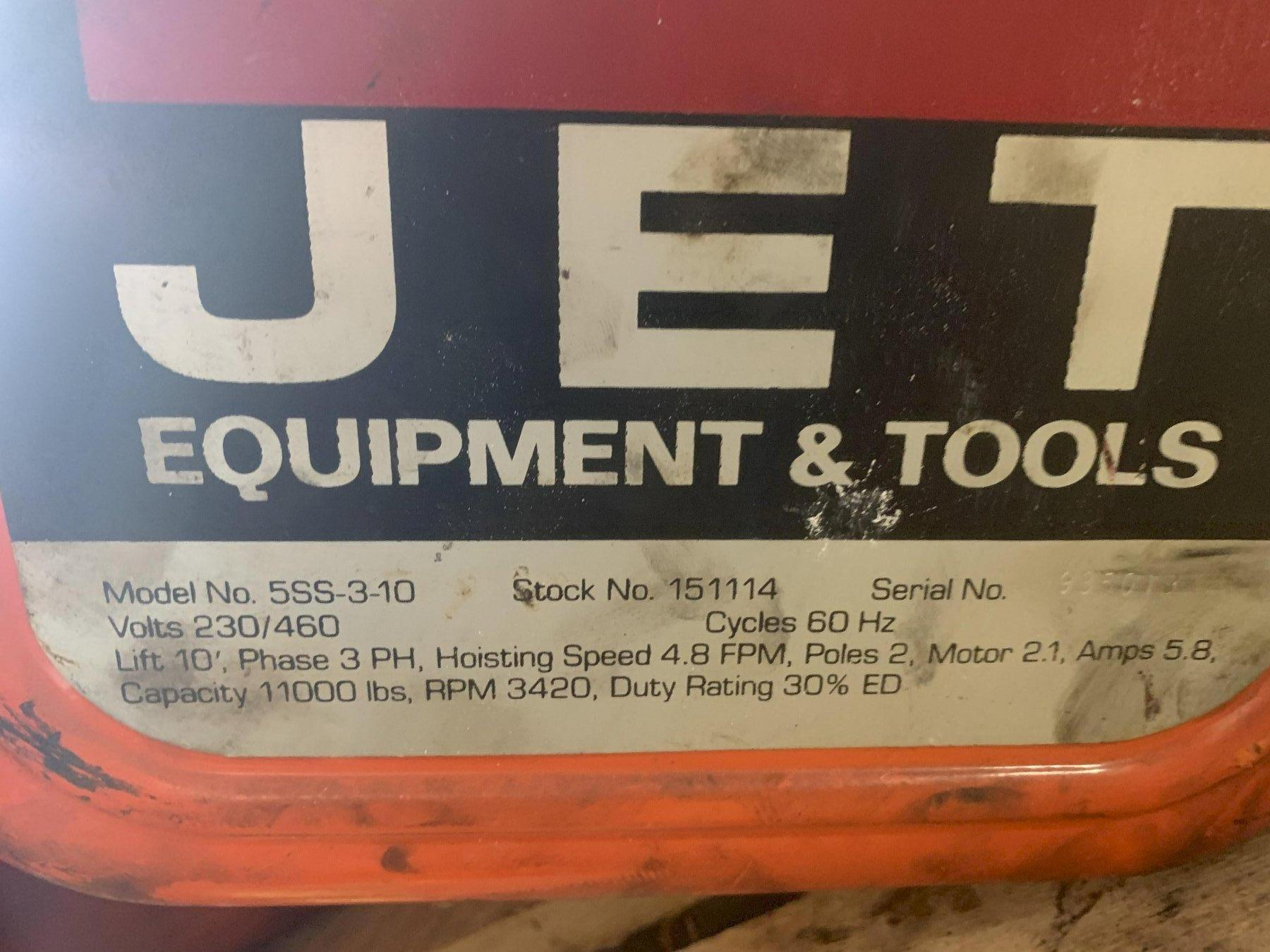 5 TON JET MODEL #5SS-3-10 CHAIN HOIST: STOCK #13775