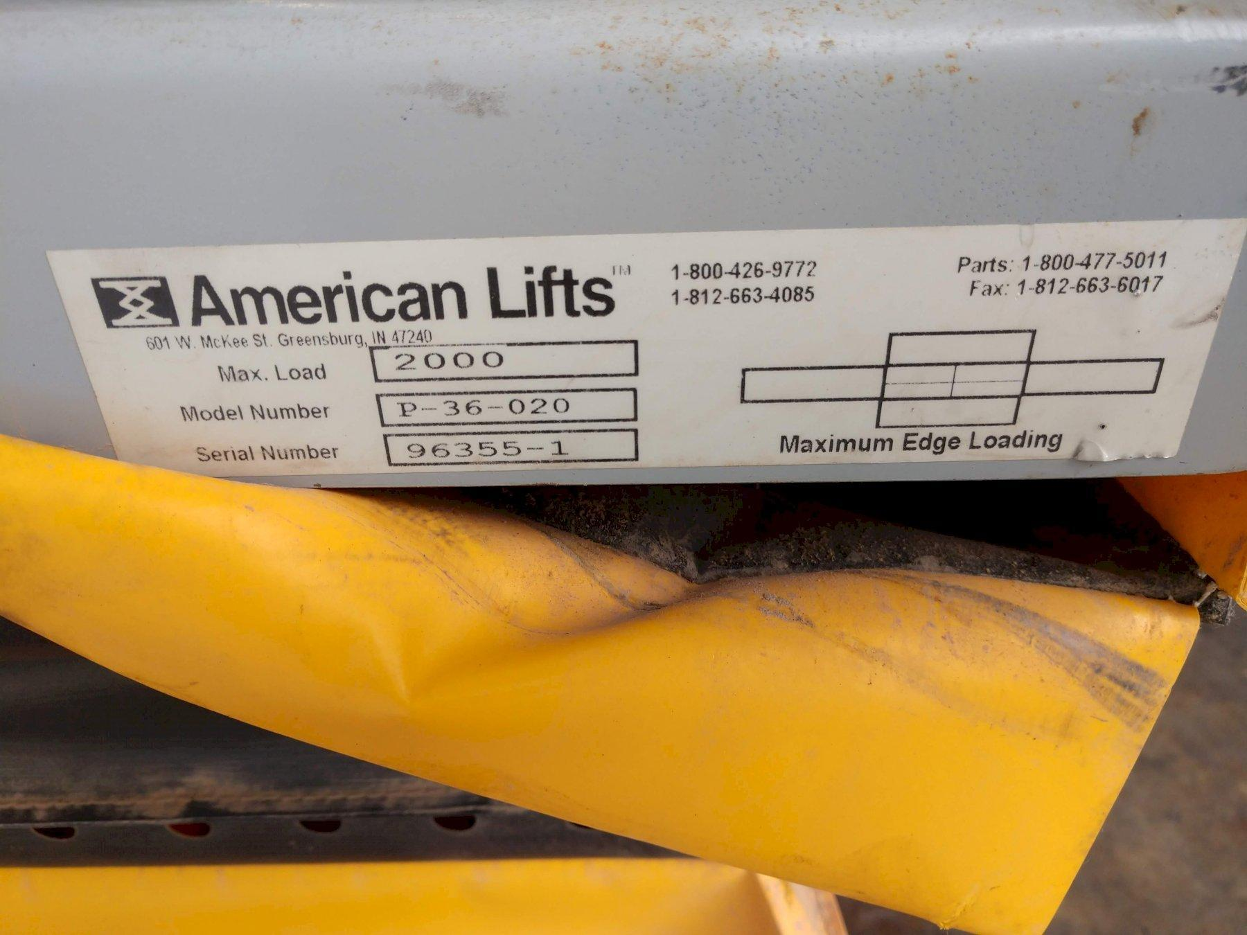 "2,000 LBS X 24"" X 48"" AMERICAN LIFTS MODEL #P-36-020 SINGLE PHASE HYDRAULIC SCISSOR LIFT TABLE:"