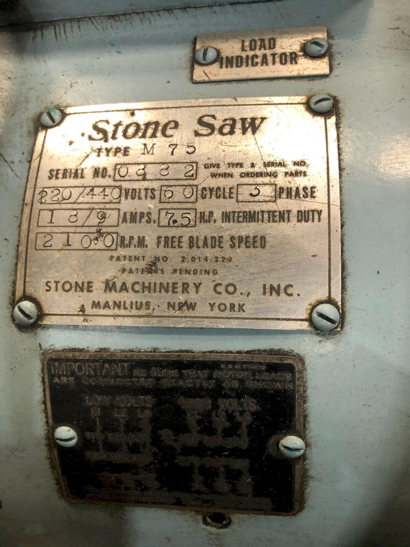 "16"" STONE MODEL #M75 ABRASIVE COLD SAW: STOCK 13871"