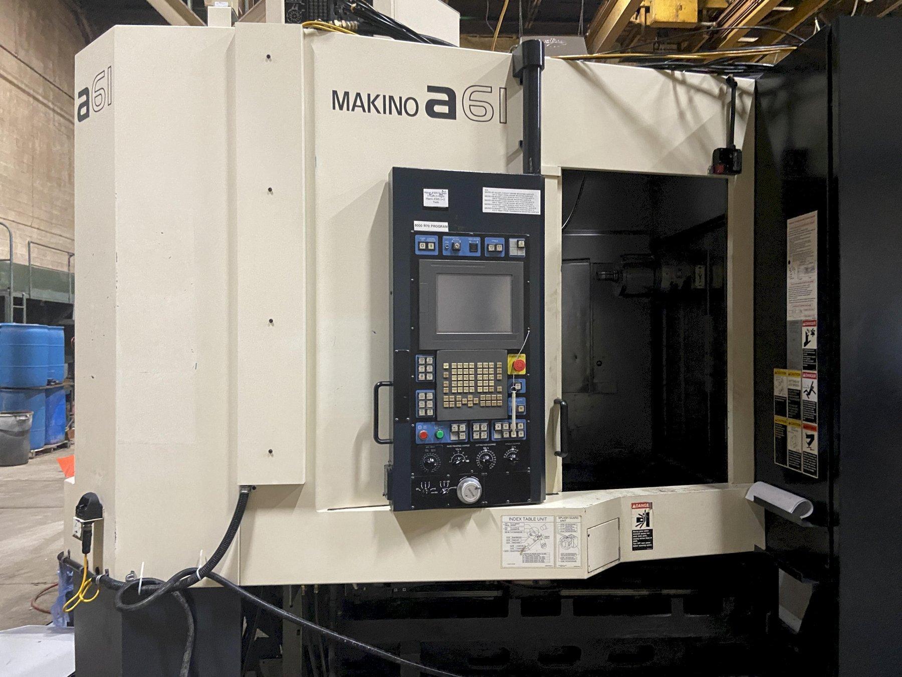 "Makino A61 CNC Horizontal Machining Center, Fanuc Pro 5, 12K Spindle, 19.7"" Pallets, 29""/26""/29"""