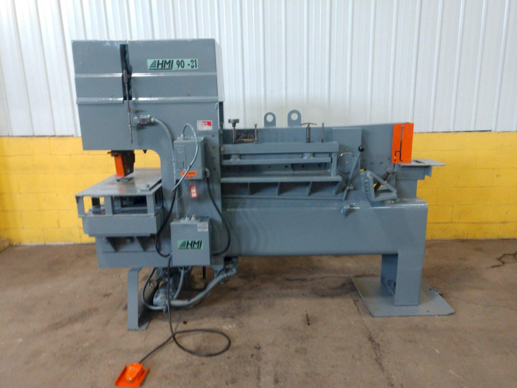90 TON HMI (HYDRUALIC MACHINE INC) MODEL 90-31 HYDRAULIC IRONWORKER: STOCK #13841