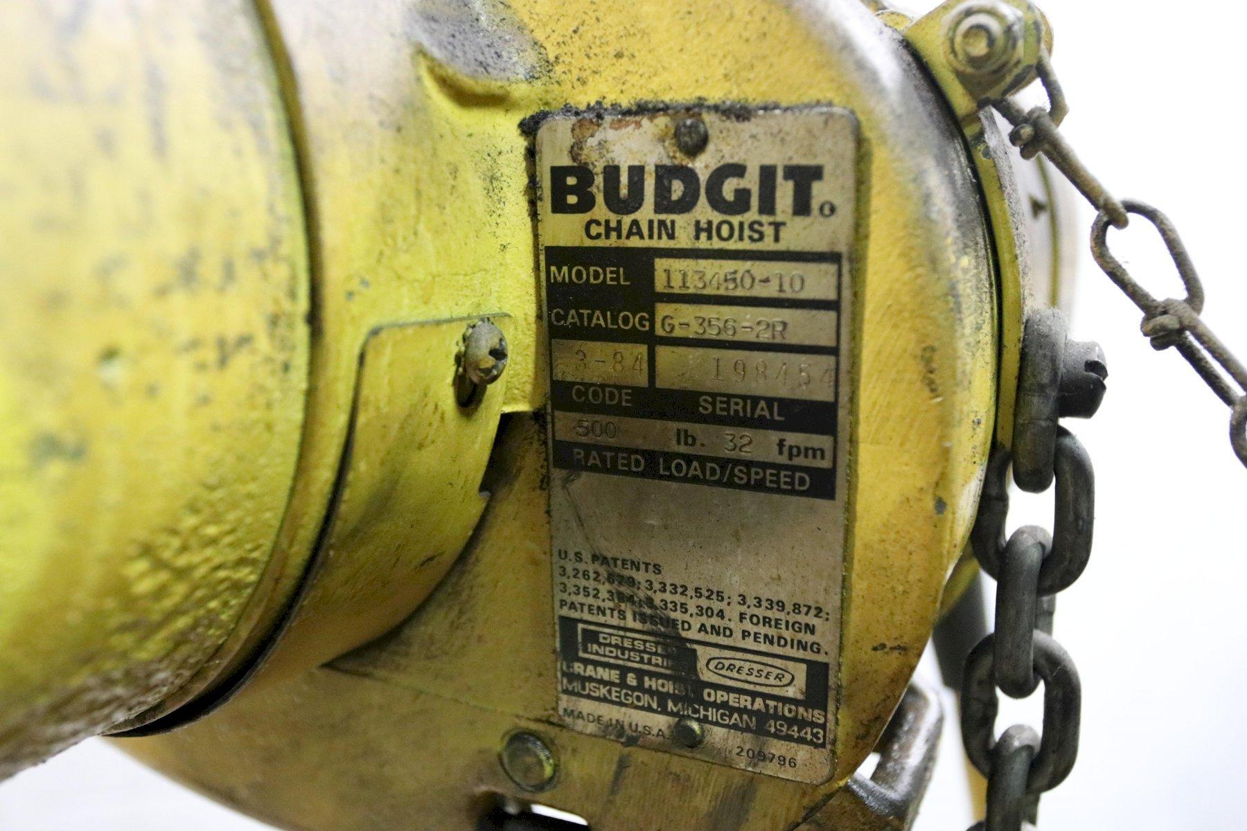 1/4 TON BUDGIT ELECTRIC POWERED CHAIN HOIST: STOCK #11999