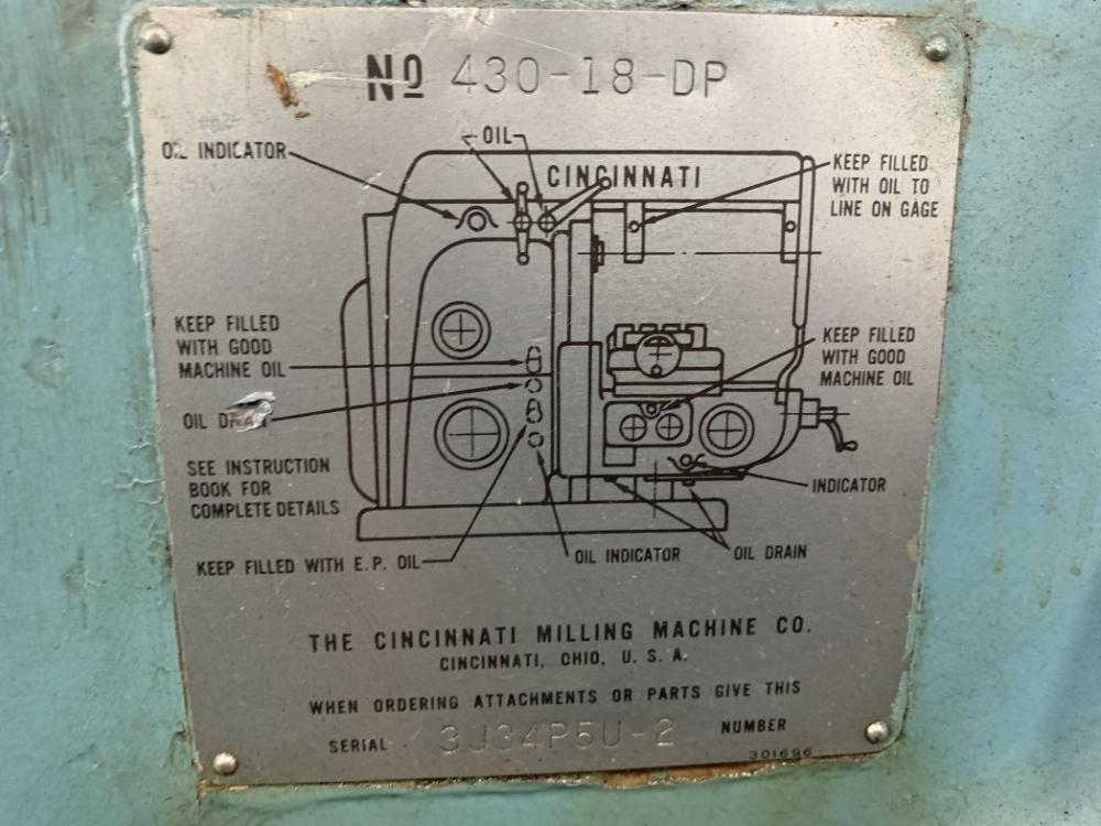 #4 CINCINNATI #430-18-GP HORIZONTAL MILL POWER MILLING MACHINE: STOCK #11102