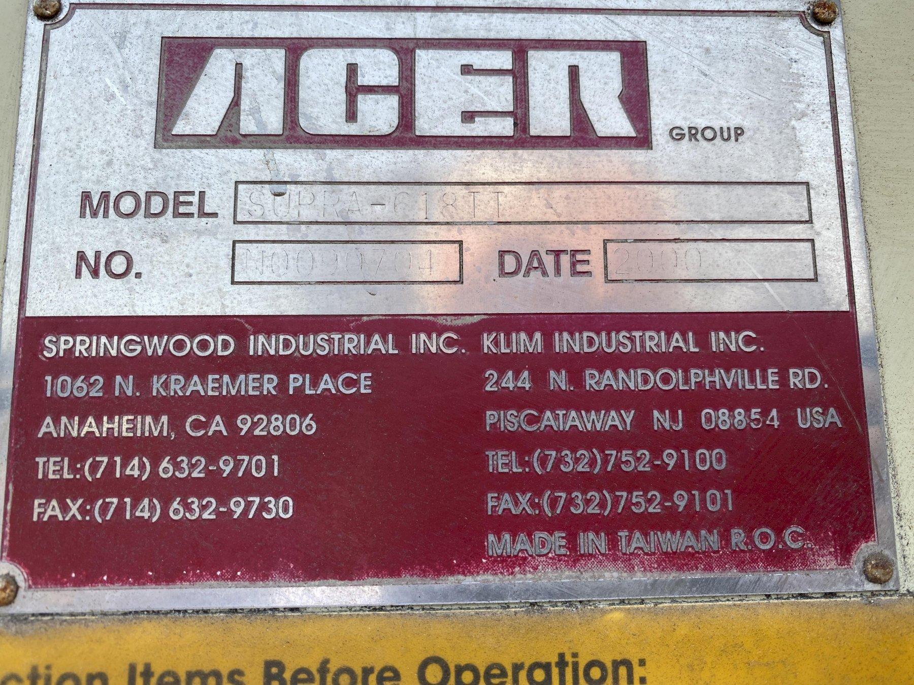 "6"" X 18"" ACER MODEL SUPRA-618II HYDRAULIC HORIZONTAL SURFACE GRINDER: STOCK #14510"