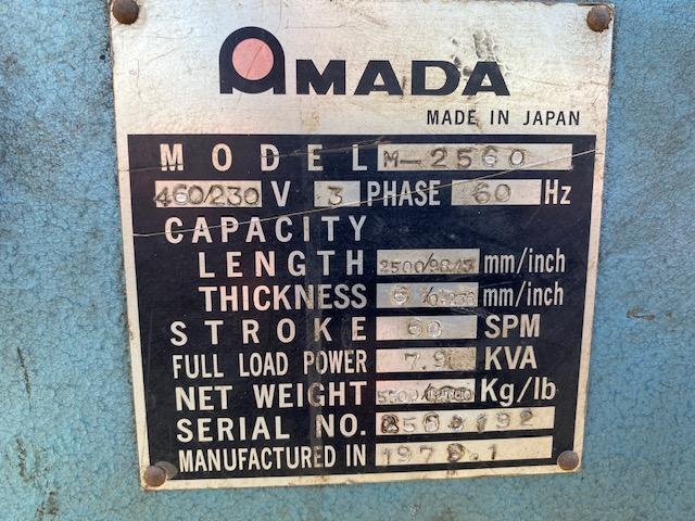"Amada M-2560 8' x 1/4"" Power Squaring Shear #5803"